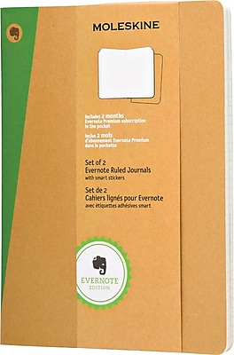 Moleskine Evernote Journal w/Smart Stickers, XL, Ruled, Kraft, Soft Cvr, 7-1/2