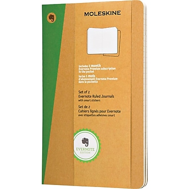Moleskine Evernote Journal with Smart Stickers, Large, Ruled, Kraft, Soft Cover, 5