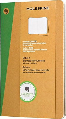 Moleskine Evernote Large Soft Cover Journals with Smart Stickers, Kraft, 5