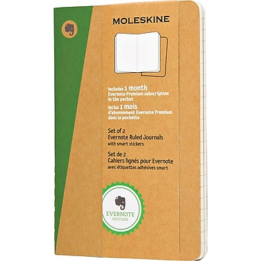 Moleskine Evernote Journal with Smart Stickers, Pocket, Ruled, Kraft, Soft Cover, 3-1/2