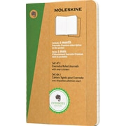 "Moleskine Evernote Journal with Smart Stickers, Pocket, Ruled, Kraft, Soft Cover, 3-1/2"" x 5-1/2"", Set of 2"