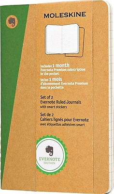 "Moleskine Evernote Journal w/Smart Stickers, Pocket, Ruled, Kraft, Soft Cvr, 3-1/2"" x 5-1/2"", 2/set"