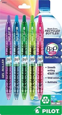 Pilot B2P Bottle-2-Pen Colors Retractable Gel Ink Pens, Fine Point, Assorted, 5/Pack (36621)