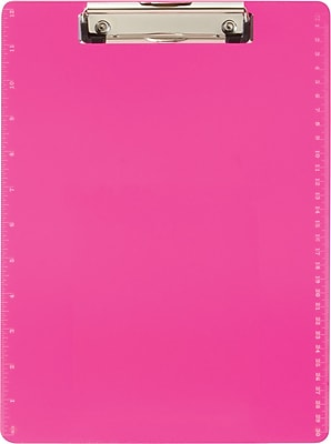 """Officemate® Plastic Clipboard, Letter, Transparent Neon Pink with Ruler Markings, 9"""" x 12 1/2"""""""