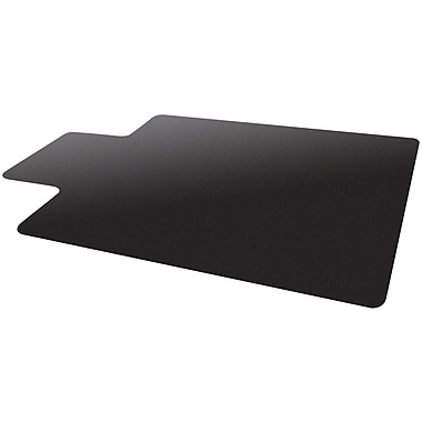 Deflecto Blackmat 48''x36'' Resin Chair Mat for Carpet, Rectangular w/Lip (CM11112BLKCOM)