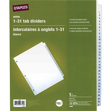 Staples® Preprinted Divider Tabs, 1-31