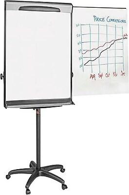 MasterVision Magnetic Dry-Erase Adj. Mobile Presentation Easel, Aluminum Frame, 69-78Hx30Wx27