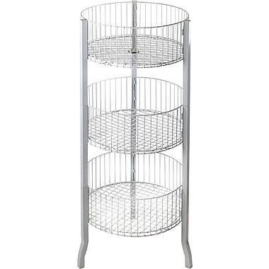Azar Displays 3-Tier Large Round Wire Dump Bin, White, 45
