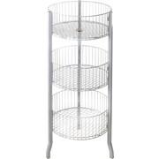 Azar Displays – Corbeille large et ronde en treillis métallique, 3 niveaux, blanc, 45 po (300703)