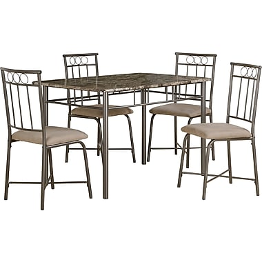 Monarch 5-Piece Dining Set, Cappuccino Marble/Bronze