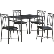 Monarch 5-Piece Dining Set, Grey Marble/Charcoal Metal