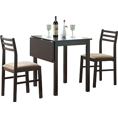 Monarch 3-Piece Solid-Top Dining Set, Cappuccino
