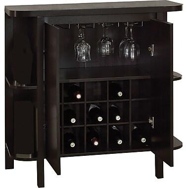 Monarch – Unité de bar de 36 po en hauteur avec espace de rangement pour bouteilles et verres, cappuccino