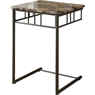 Monarch Metal Snack Accent Table, Cappuccino Marble / Bronze