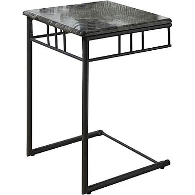 Monarch Metal Snack Accent Table, Grey Marble / Charcoal