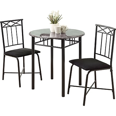 Monarch Metal 3 Piece Dining Set, Grey Marble/Charcoal