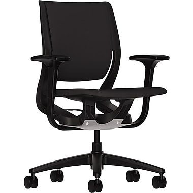 HON® HONRW101ONCU10 Purpose® Fabric Mid-Back Chair with Adjustable Arms, Black/Onyx