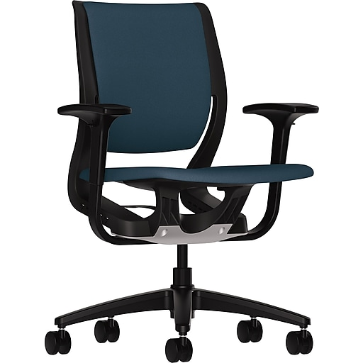 hon purpose fabric task chair adjustable arms blue staples