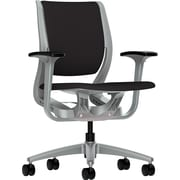 HON Purpose Fabric Computer and Desk Office Chair, Adjustable Arms, Black/Platinum (RW101PTCU10.COM)