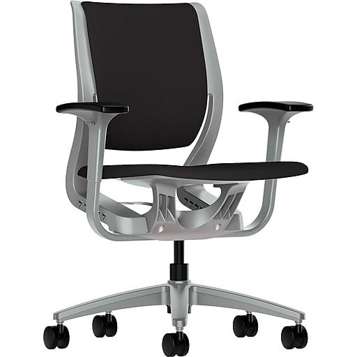 HON Purpose Fabric Computer and Desk Office Chair, Adjustable Arms, Black/Platinum (RW101PTCU10.COM)