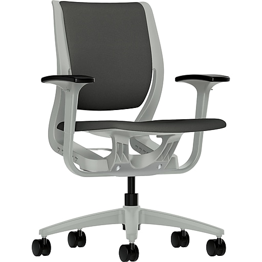 HON Purpose Fabric Computer and Desk Office Chair, Adjustable Arms, Iron Ore/Platinum (RW101PTCU19.COM)
