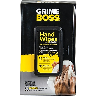 Grime Boss® Hand & Surface Wipes, 60 Wipes/Pack