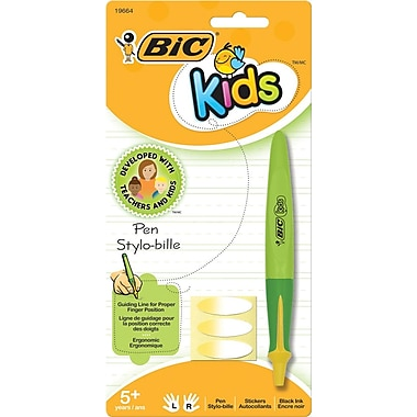 BIC® Kids Retractable Ballpoint Pens, Assorted Barrel Colors with Yellow Accents, 1.0mm, Each