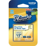"Brother® M Series Non-Laminated Label Tape, 1/2"" x 26-1/5', Blue on White"