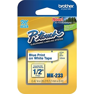 """Brother M Series MK233 Label Maker Tape, 1/2""""W, Blue on White"""