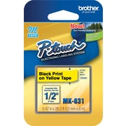 "Brother® MK631 Black on Yellow Label Tape, 1/2"" x 26-1/5'"