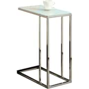 Monarch Chrome Metal Accent Table With Tempered Glass