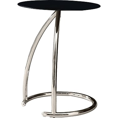 Monarch Chrome Metal Accent Table With Black Tempered Glass