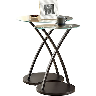 Monarch Bentwood 2-Piece Nesting Table Set, Cappuccino