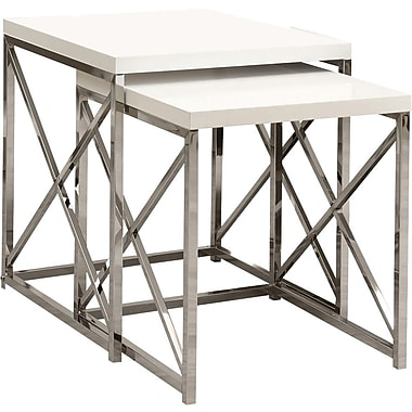 Monarch Metal 2-Piece Nesting Table Set, Glossy White / Chrome