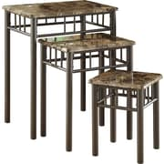 Monarch Metal 3-Piece Nesting Table Set, Cappuccino Marble / Bronze
