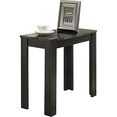 Monarch Accent Side Table, Black / Grey Marble
