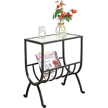 Monarch Metal Magazine Table With Tempered Glass, Stardust Brown