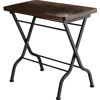 Monarch Metal Folding Accent Table, Cherry / Charcoal Black