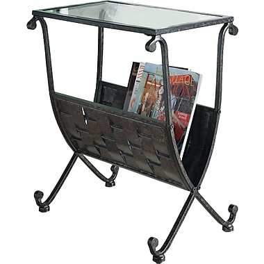 Monarch Mix Metal Magazine Table With Tempered Glass, Black / Taupe