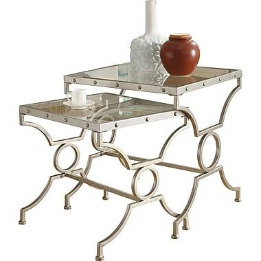 Monarch – Ensemble de tables cigognes carrés 2 pièces, satin argenté avec verre trempé