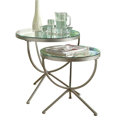 Monarch 2-Piece Round Nesting Table Set With Tempered Glass, Satin Silver