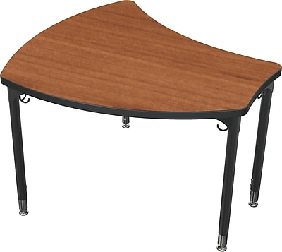 Balt Black Legs/Edgeband Small Shapes Desk Without Book Box, Amber Cherry
