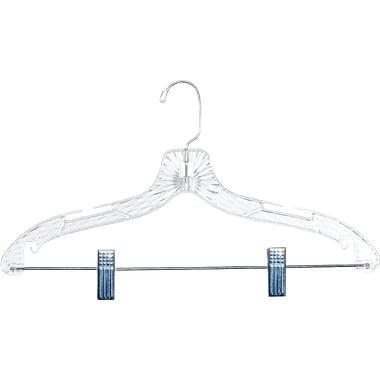 Plastic Dress / Suit Hanger w/ Steel Swivel Hook, Clear, 100/Pack