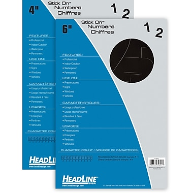 HeadLine® Black Stick On Numbers