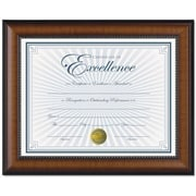 "Dax Prestige Document Wood Frame with Certificate, Walnut with Black Trim, 8 1/2"" x 11"""