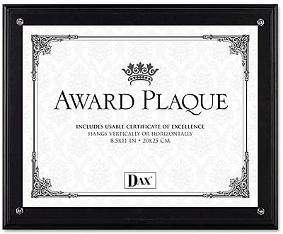 Dax Award Plaque Acrylic and Wood Frame with Certificate, Black, 8 1/2