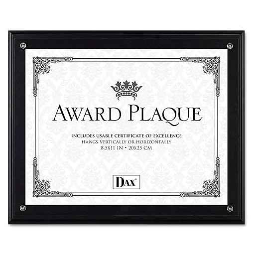 Dax Award Plaque Acrylic and Wood Frame with Certificate, Black, 8 1 ...