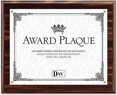 Dax Award Plaque Acrylic and Wood Frame with Certificate, Walnut, 8 1/2