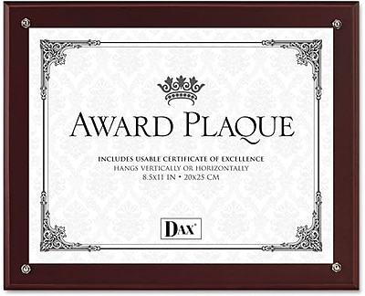 Dax Plaque In-An-Instant Kit with 3 Certificates, Excellence, All-Star, Congratulations, Mahogany, 10 1/2