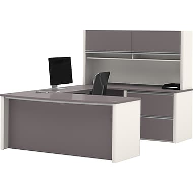 Bestar Connexion Collection U-Shape Workstation With Hutch, Sandstone & Slate